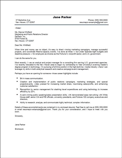 exles of a cover letter for resume pr marketing cover letter resumepower