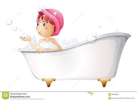 bathtub illustration a young lady at the bathtub stock vector illustration of