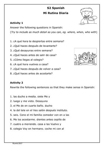 Spanish - Daily Routine Worksheet (Mi Rutina) | Teaching
