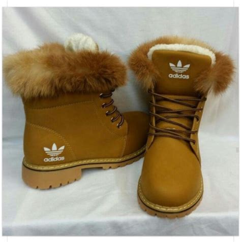 shoes brown adidas winter boots adidas shoes boots fluffy fur wheretoget