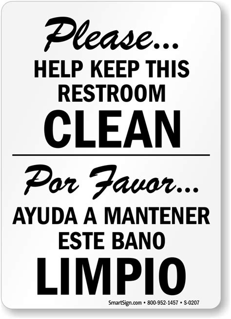 how to say clean the bathroom in spanish bilingual keep this restroom clean free pdf signs sku