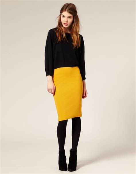 asos collection asos ribbed jersey pencil skirt in yellow