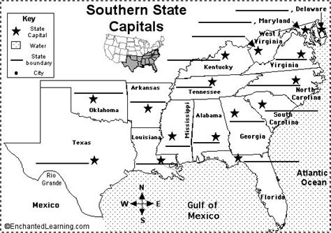 label countries printout enchantedlearning label southern us state capitals printout