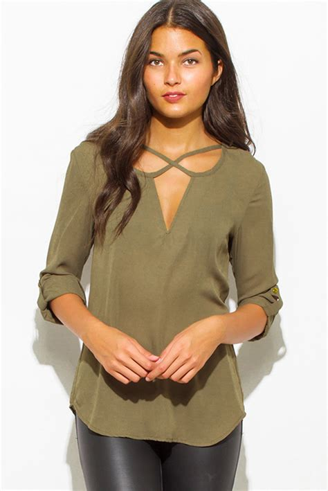 Crop Top Import 42429 Green Texture Lace Top shop wholesale womens olive green v neck cut out front