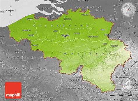 geographical map of belgium physical map of belgium desaturated