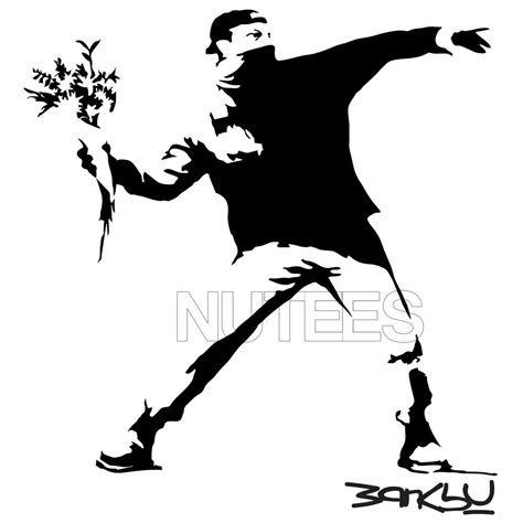 banksy flower thrower street art stencil mens ladies t