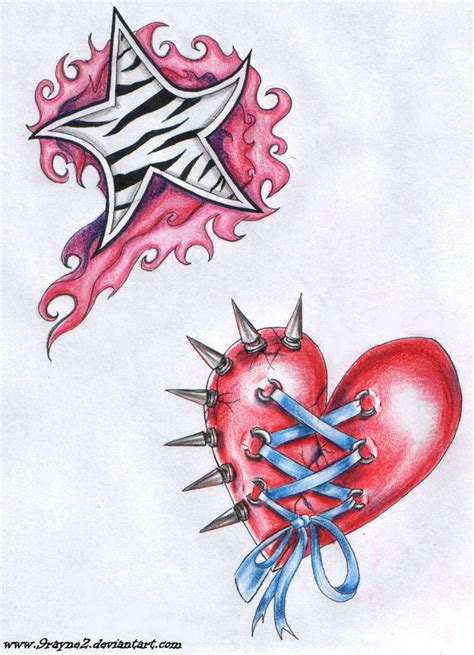 star and heart tattoo by 9rayne2 on deviantart