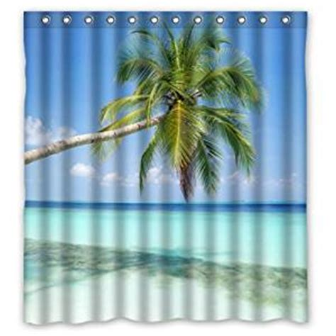 tropical themed shower curtains com 66 quot w x 72 quot h sandy tropical paradise beach