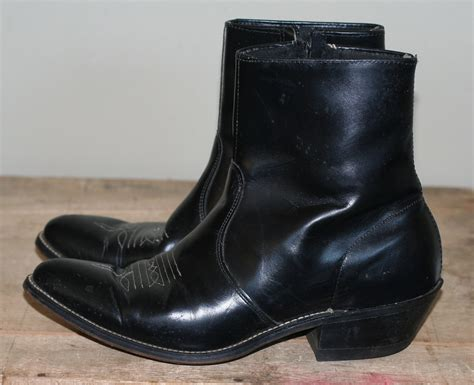 mens zip up cowboy boots vintage mens western zip up ankle boots size 8 8 5