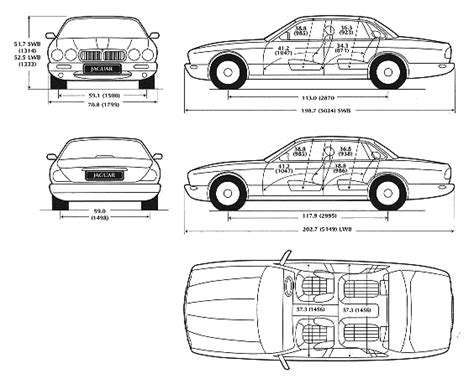 jaguar xj6 dimensions car blueprints чертежи автомобилей jaguar