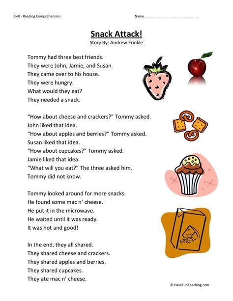 1st Grade Reading Comprehension Worksheets by Reading Comprehension Worksheet Snack Attack