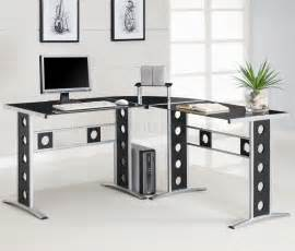Modern Desk For Home Office Black Silver Two Tone Modern Home Office Desk