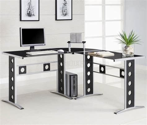Modern Home Office Desk Black Silver Two Tone Modern Home Office Desk