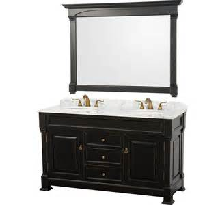 black bathroom vanity with white marble top wyndham andover 60 inch white carrera marble top sink