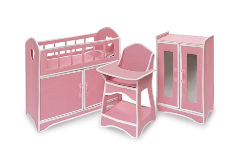 Baby Doll Crib And Highchair Badger Basket Folding Doll Furniture Set With Storage Crib High Chair And Armoire By Oj