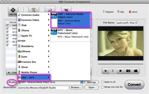 format video amv amv converter for mac convert videos among amv mpg mov