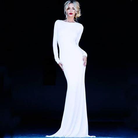 simple white spandex wedding dresses  long sleeve