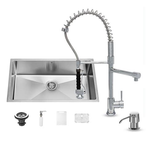 All In One Kitchen Sinks Vigo All In One Undermount Stainless Steel 32 In 0 Single Bowl Kitchen Sink In Chrome