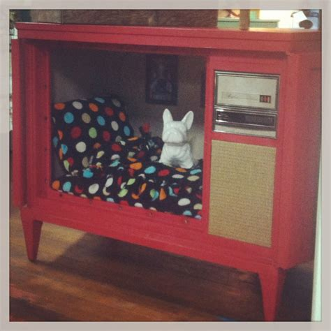 tv dog bed upcycled console tv dog bed house rancho co ops new items summer 2013 pinterest
