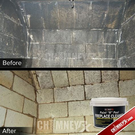 the inside of a firebox before and after being cleaned