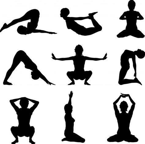 imagenes vectorizadas yoga silhouettes of women in various yoga poses vector free