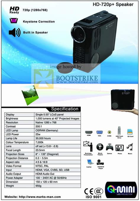 Projector L Price List by Marksman Mini Projector Hd 720p Specifications Pc Show