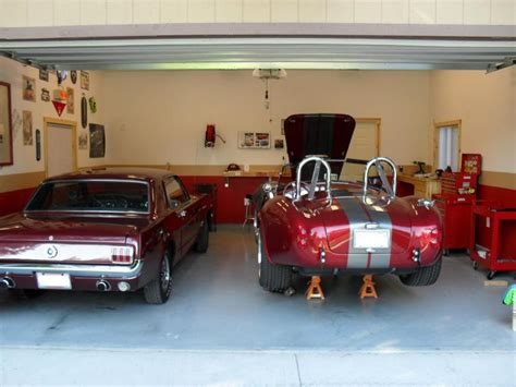 inside home garage classic car painted with white and