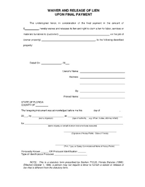 Lien Release Letter Nj Pin Blank Notary Forms Pdf On