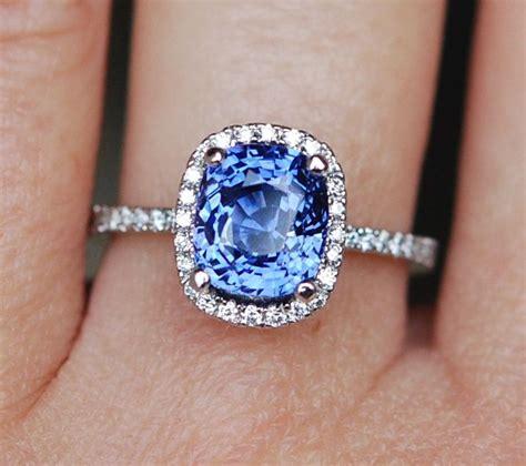 Blue Safir Sapphire 6 15ct sapphire engagement ring 18k gold 4 1ct cornflower