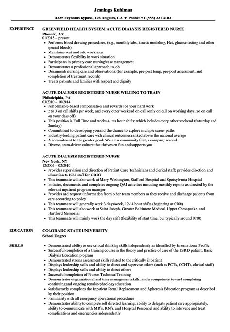 Registered Resume Sle by Acute Dialysis Rn 28 Images Dialysis