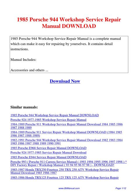 service manuals schematics 1983 porsche 944 security system 1985 porsche 944 workshop service repair manual by lisa fu issuu