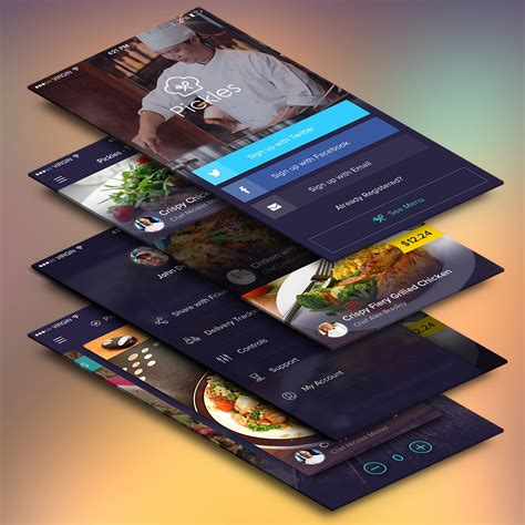 free app for mobile restaurant mobile app ui screens free psd