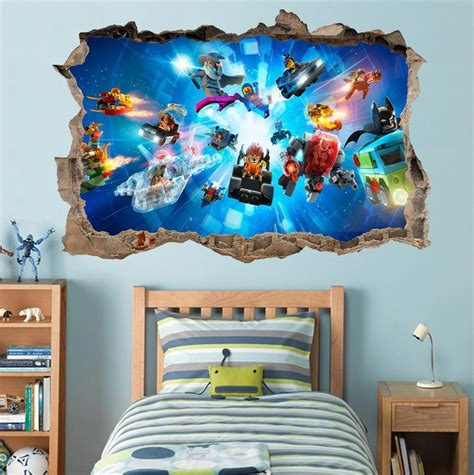 lego wall decals for rooms lego characters ninjago batman smashed wall decal graphic wall sticker h446 ebay