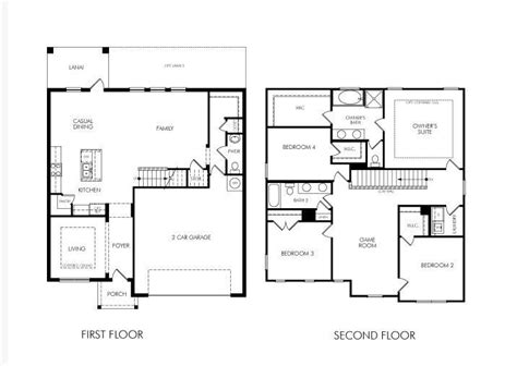 floor plans for two story homes awesome 2 story 4 bedroom house plans 7 simple 2 story house floor plans totanus net