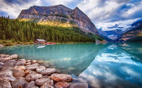 canada parks lake mountains forests stones scenery lake