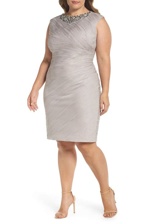 Embellished Sheath Dress eliza j embellished neckline sheath dress plus size