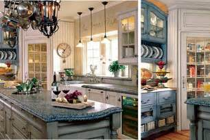 french country kitchen blue colors home round