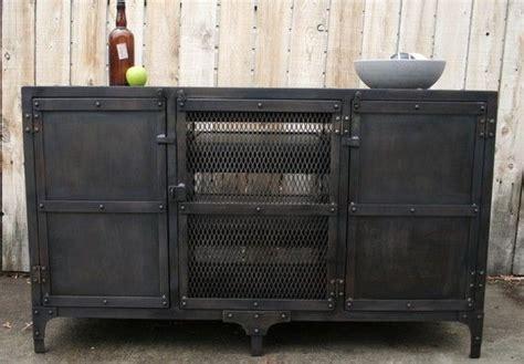handmade industrial metal media cabinet tv console tv
