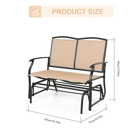 two person swing chair beige ikayaa 2 person patio swing glider bench chair