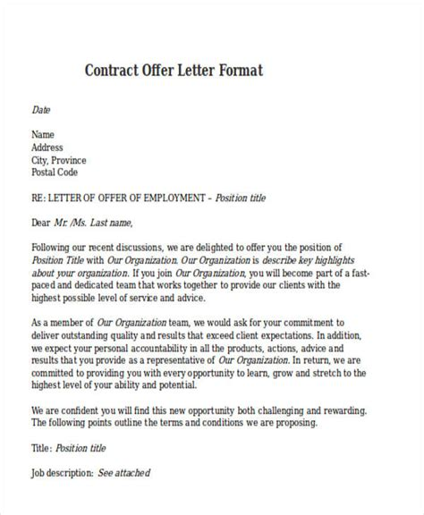 Contract Letter For New Employee contract offer letter templates 9 free word pdf format