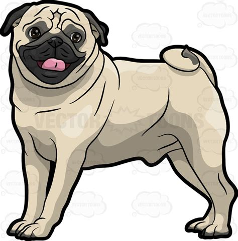 pug clip a friendly pug sticking its tongue out clipart vector