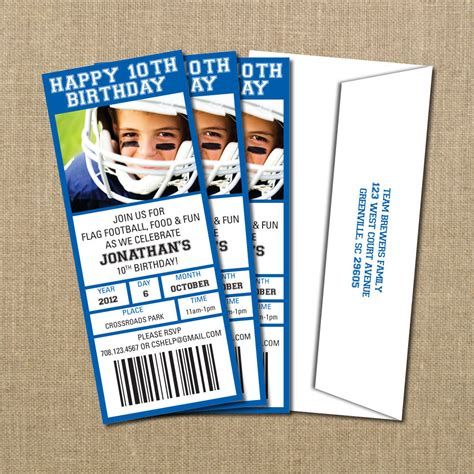 football birthday game ticket invitation digital file