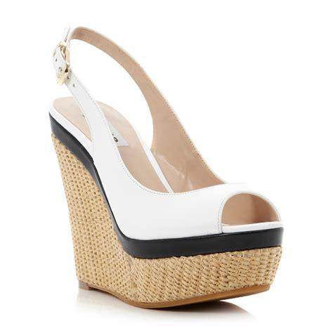 black and white wedge sandals dune black white leather huntington raffia wedge heeled