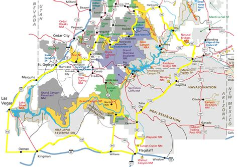 utah arizona map map of arizona and utah national parks new york map