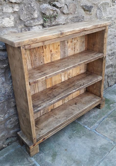 handmade solid wood bookcase reclaimed wood shelves rustic