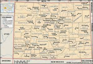 colorado state map with cities and counties colorado counties and county seats encyclopedia