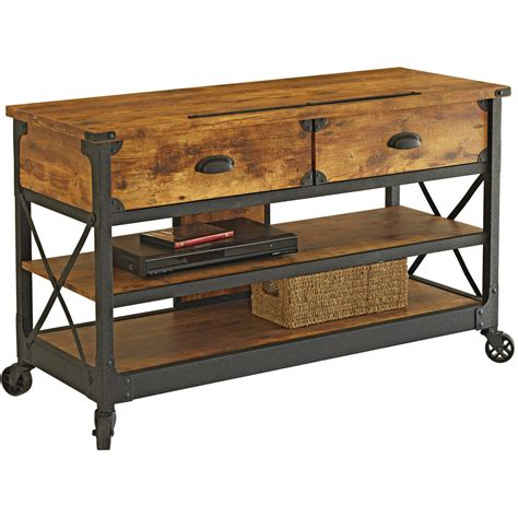 console table tv stand inspiring rustic tv console table stand wood wheels