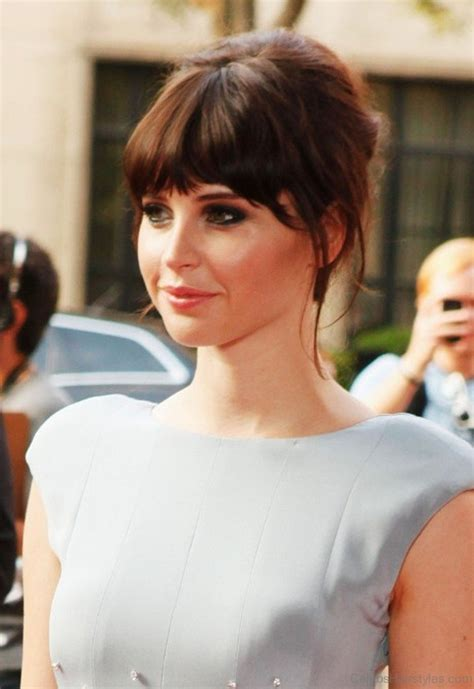 Wedding Hairstyles With Blunt Bangs by 52 Attractive Hairstyles Of Felicity Jones