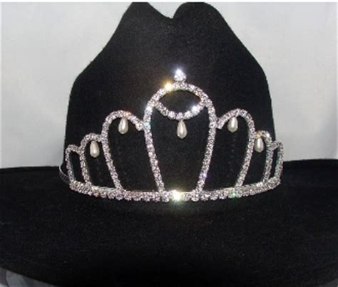 tiara boat hat quot queen of pearls quot rhinestone pearls cowboy hat tiara usa