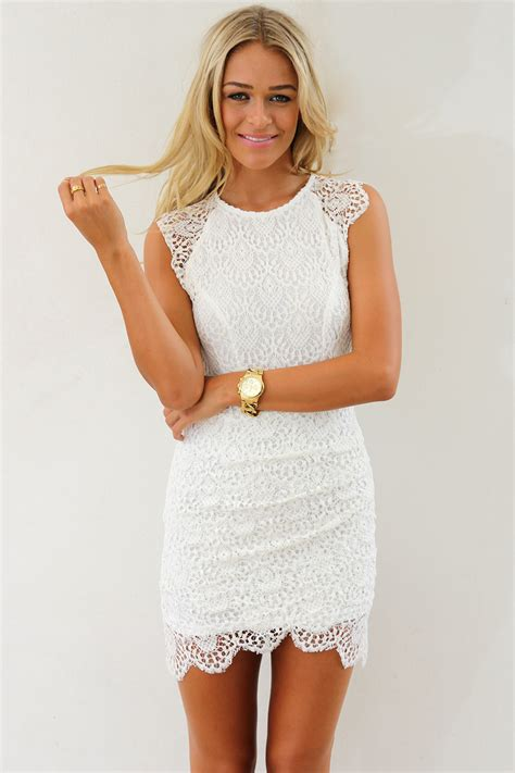 white cocktail dress white lace overlay dress with